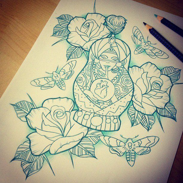 russian doll and roses tattoo design drawing by mr curtis at tatuajes. Black Bedroom Furniture Sets. Home Design Ideas