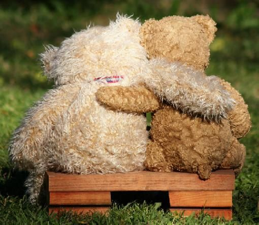teddy bears hugging!