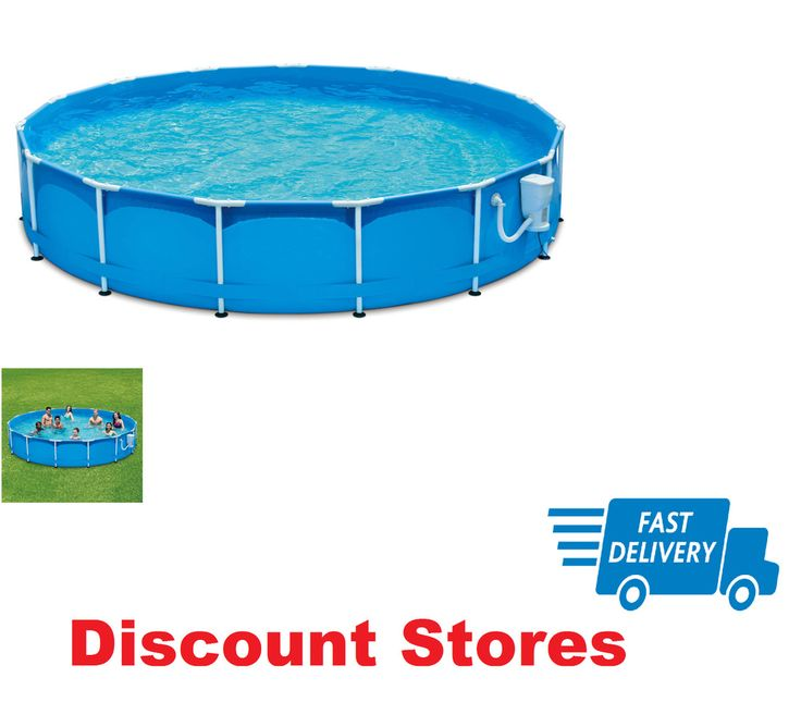 Outdoor Swimming Pool Patio Metal Frame Family Pool Set Durable Above Ground New #OutdoorSwimmingPoolPatioMetalFramePoolSet