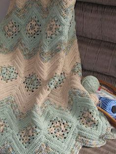Granny Square and Ripples Crochet Afghan Pattern - these colors make it look so delicate and antique