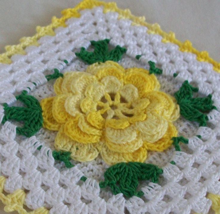 Vintage Style Thread Crochet Potholder in Shaded Yellow by AcadianCrochet