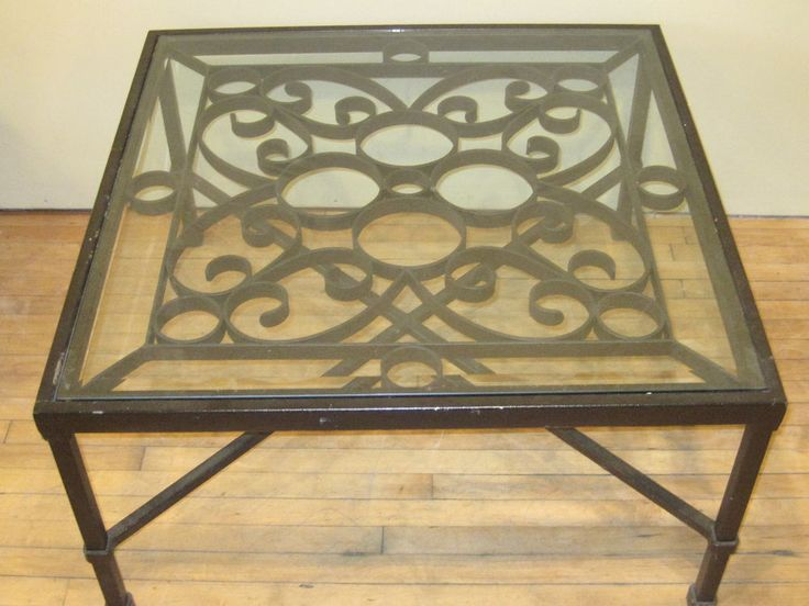 Large Wrought Iron Coffee Table with Glass Top