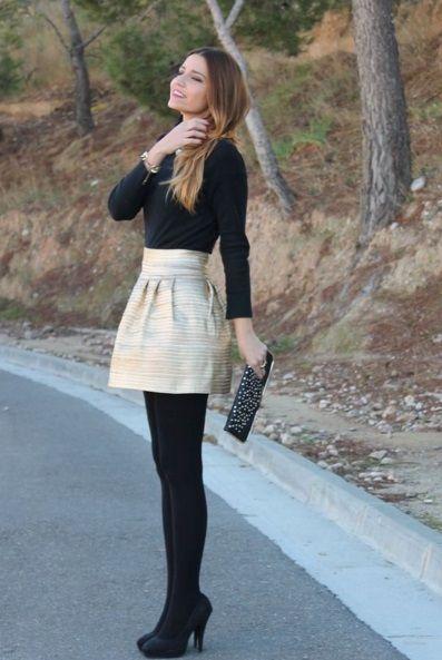 Inspiración para usar faldas cortas en invierno