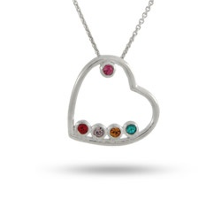 Perfect for Mothers Day! 5 Stone Simple Sterling Silver Birthstone Heart with Swarovski Crystals $42