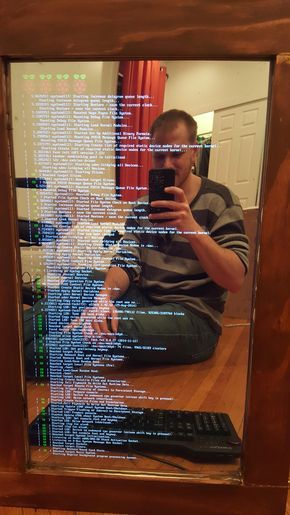 A magic mirror powered by a raspberry pi. Best Christmas present I've ever put together. Detailed tutorial in comments. - Imgur