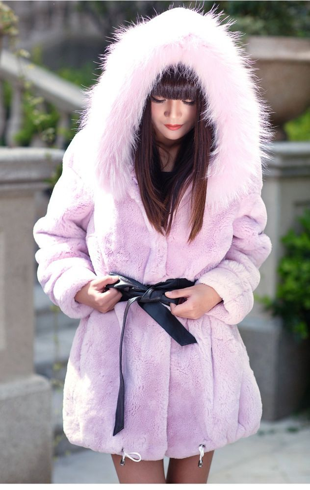 Real 100% Rex Rabbit Fur Raccoon Collar Women Coat Jacket Overcoat Garment Hood #Furfox #BasicCoat