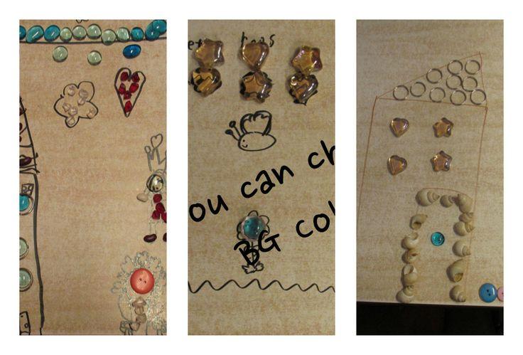 Deze week mochten de kinderen (groep 1 t/m 3) op tafel tekenen met stift en deze tekening versieren met kleine loose parts.