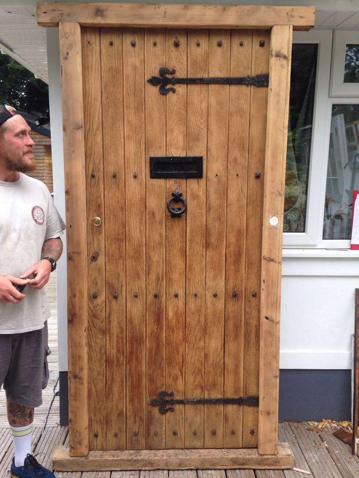 V LARGE SOLID OAK FRONT DOOR OLD RECLAIMED WOOD 1900s PERIOD FRAME ANTIQUE USED