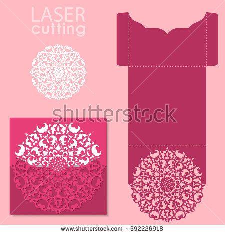 Vector die laser cut envelope template. Wedding lace invitation mockup. Laser cut wedding card template. Invitation envelope.