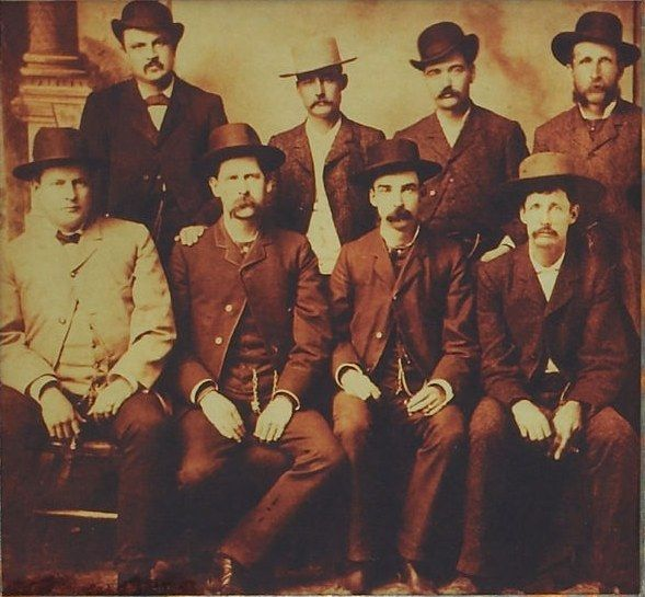 Old School Badasses - Dodge City Peace Commission, June 1883    From left to right, standing: W.H. Harris, Luke Short, Bat Masterson, W.F. Petillon. Seated: Charlie Bassett, Wyatt Earp, Frank McLain and Neal Brown