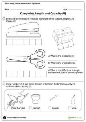 Using Units of Measurement Worksheets – Year 1