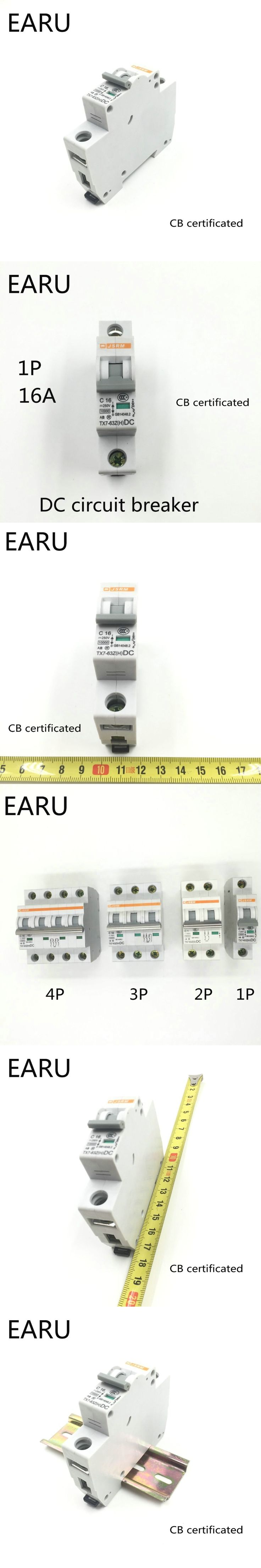 1P 16A DC 250V DC Circuit Breaker MCB for PV Solar Energy Photovoltaic System Battery C curve CB Certificated Din Rail Mounted