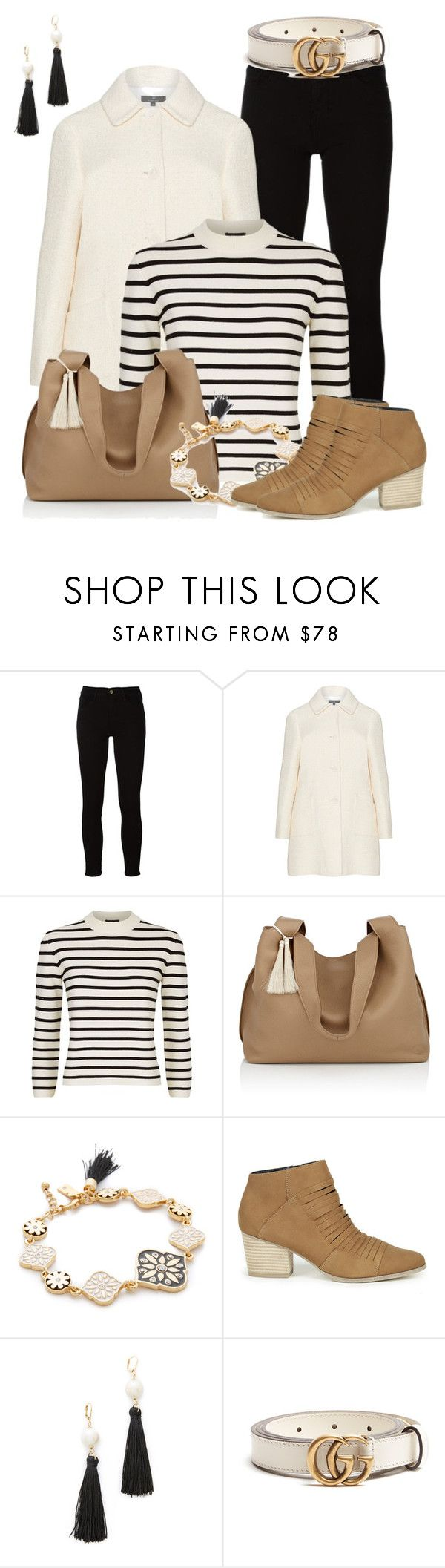 """""""Striped Top"""" by lchar ❤ liked on Polyvore featuring Frame, Theory, The Row, Kate Spade, Sole Society and Gucci"""