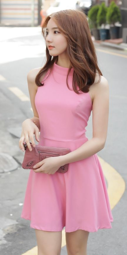 [Luxe Asian Women Dresses Fashion Style Korean Model Fashion Clothing] Halter ribbon Dress
