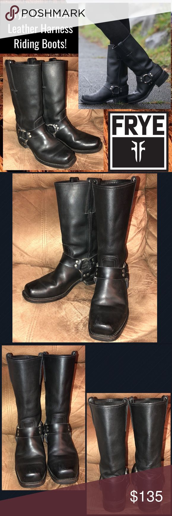"""Frye 12R Black Leather Harness Riding Boots! Frye 12R Black Leather Harness Riding Boots! FEATURES: 100% authentic, natural distressed black leather, 12R riding harness boot, Unlined, Rubber outsole, Made in USA, 11 1/2"""" shaft height, 14"""" shaft circumference, 1 1/2"""" heel height, 4"""" widest across bottom. RET:$328. Sz 8 1/2M. Boots get better with age. Some minor heel wear with minor ext marks. Nice light natural distressed look! VG condition! Offers welcome! Frye Shoes"""