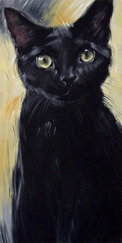 Another version of the Big Tish painting, this one is 24 x 48 inches.  Original oil painting of a black Bombay cat by Diane Irvine Armitage.