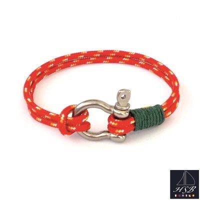 Red paracord bracelet with green line and stainless steel shackle - 45 RON