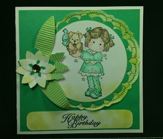 Magnolia, Christmas Tilda with Puppy. Stampin' Up! Flower punches.  Create a Flower Cuttlebug Die.