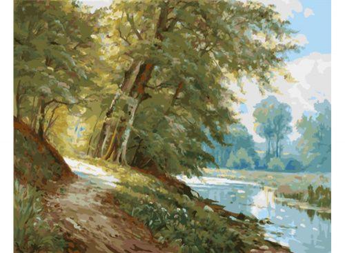 «У реки» Картина по номерам, картина-раскраска по номерам, раскраска по номерам, paint by numbers, купить картину по номерам - Zvetnoe.ru - картины по номерам, алмазная мозаика