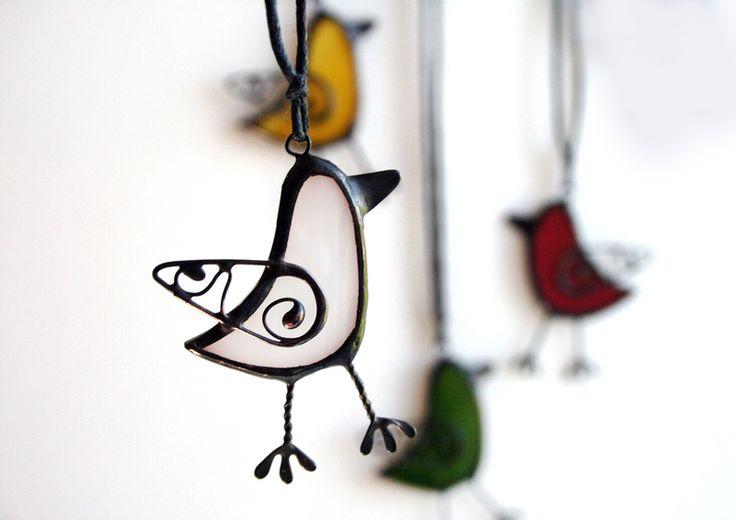 Vogel-Halskette, Vogel-Buntglas-Schmuck von ArtKvarta auf DaWanda.com                                                                                                                                                                                 Mehr