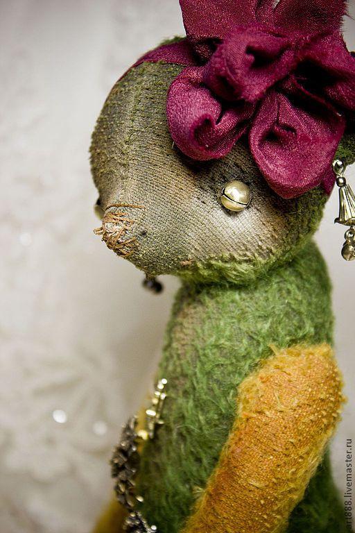 Купить Медведь тедди Алевтина - тёмно-зелёный, винтажный стиль, антикварная брошь, мишка тедди