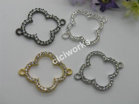 Fashion beads: 10pcs Crystal Four Leaf Clover by Ciciworks on Etsy