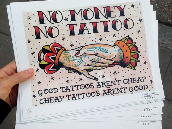 PRINT No Money No Tattoo Traditional Tattoo by LaDolorosaTattoo