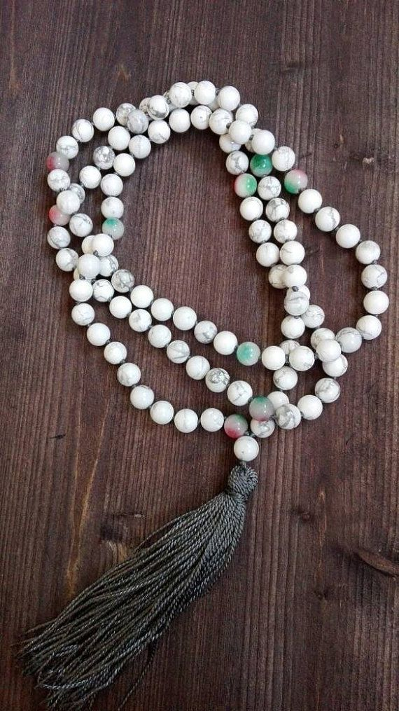 Check out this item in my Etsy shop https://www.etsy.com/listing/261184380/apples-and-snow-howlite-mala-beads