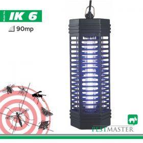Lampa UV pentru atragerea insectelor, inconjurata de un grilaj electric cu tensiune de 1000V ce le va carboniza