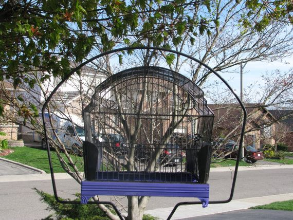 purple and hammered metal birdcage for by VictorianRehabDesign, $95.00  plant stand