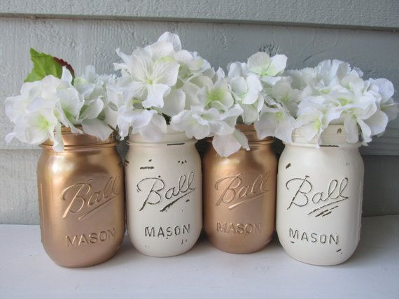 Painted and Distressed Ball Mason Jars Gold by theretroredhead