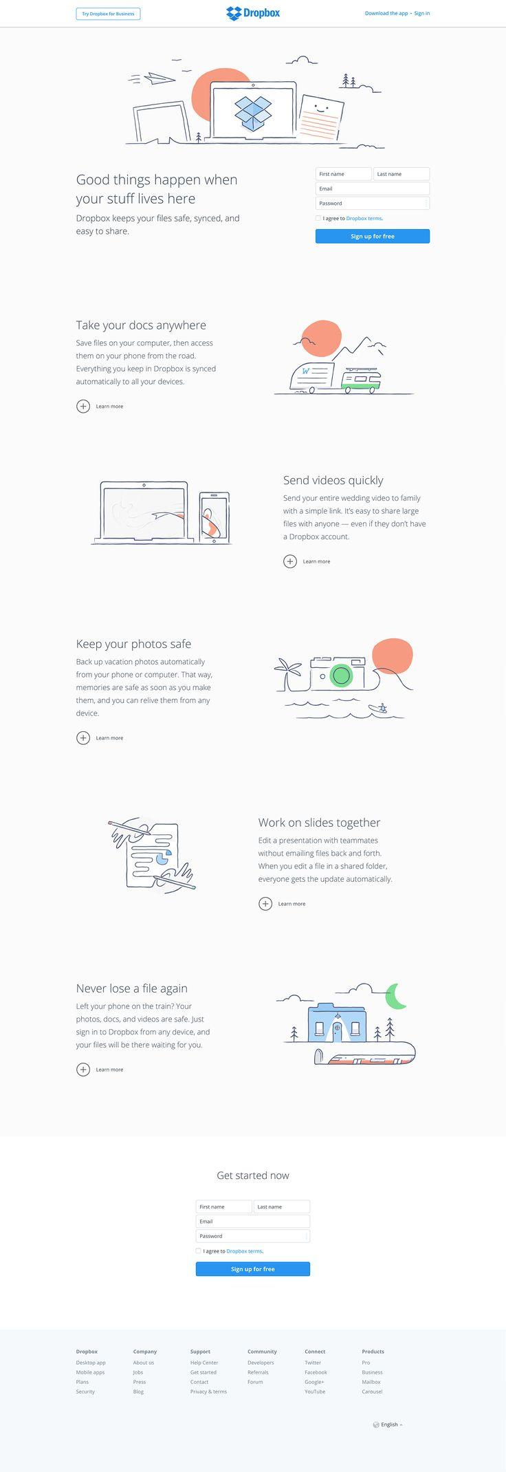 Dropbox homepage