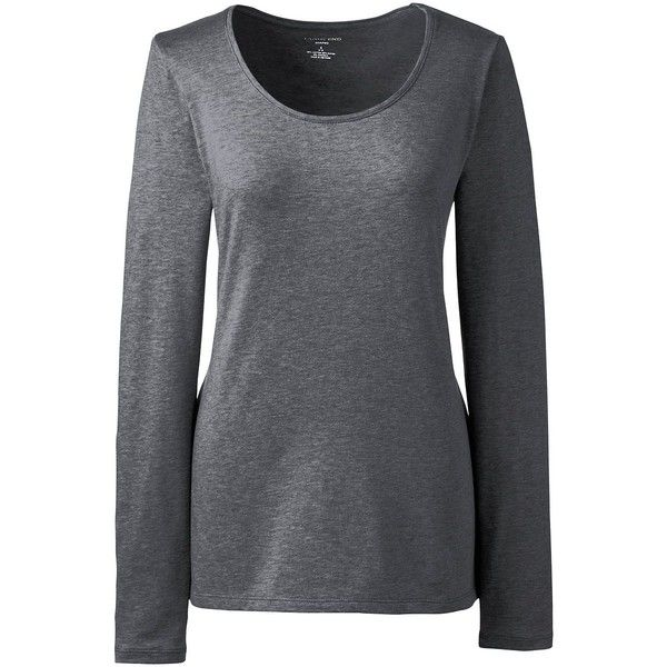 Lands' End Women's Petite Shaped Layering Scoopneck T-shirt ($26) ❤ liked on Polyvore featuring tops, t-shirts, grey, stretch t shirt, layering t shirts, scoop-neck tees, crew-neck tee and petite tops