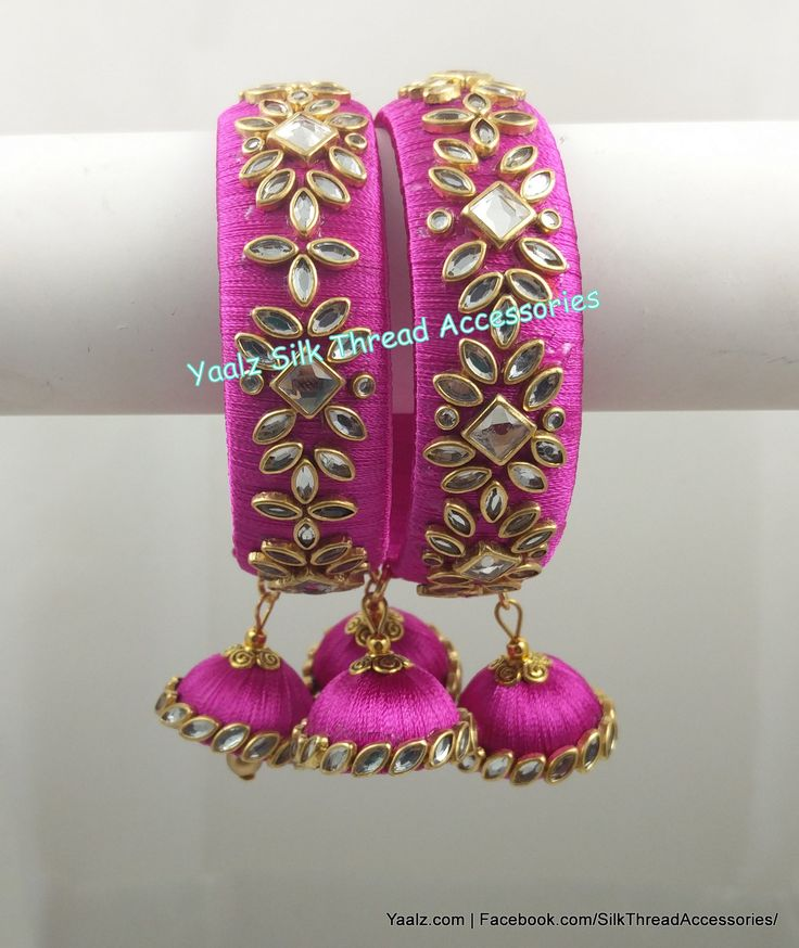 Yaalz Kundan Stone Work Bangle Set In Pink Color !! Price Rs.700 Per Pair For orders Ping us in WhatsApp +91 8754032250