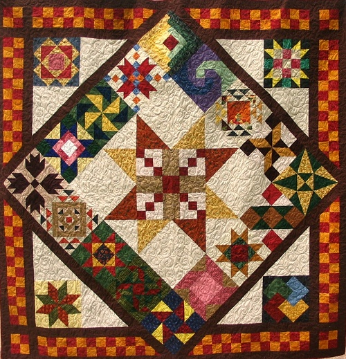 I like this setting for a variety of sampler blocks. Maybe an idea for putting all of my fall swap blocks into a quilt layout.