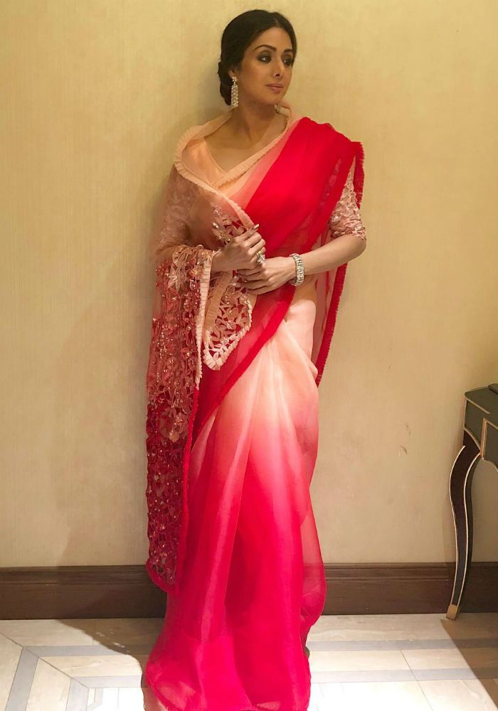 Sridevi opted for an organza sari designed by Manish Malhotra for the sangeet ceremony. This Image was posted on Instagram by Manish Malhotra