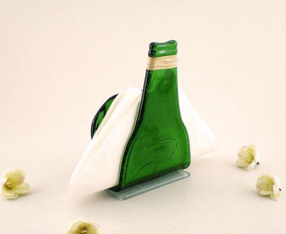 Recycled Slumped Green Beer Bottle Napkins Holder - Napkins Holder ...