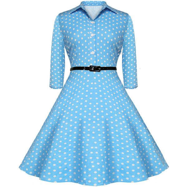 Turn Down Collar Belt Polka Dot Skater Dress (2.265 RUB) ❤ liked on Polyvore featuring dresses, polka dot dresses, collared dresses, day party dresses, blue skater dress and night out dresses