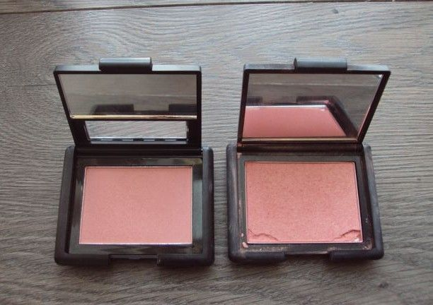 I love when I find expensive makeup dupes in drugstores. NARS Deep Throat (left) is ELF Tickled Pink (right)
