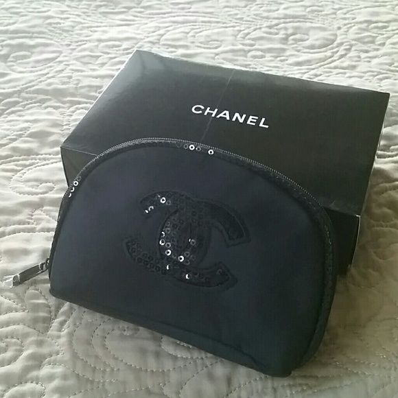 Chanel makeup bag New w/o box. Sequins CC logo and piping. 6.5 x 4 x 2 CHANEL Bags Cosmetic Bags & Cases