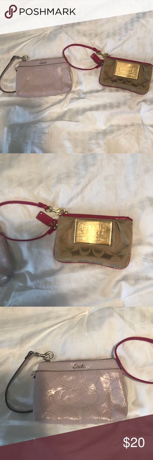 Coach Wristlets One Pink Coach Wristlet One Tan & Red Coach Wristlet Price Includes Both Coach Bags Clutches & Wristlets