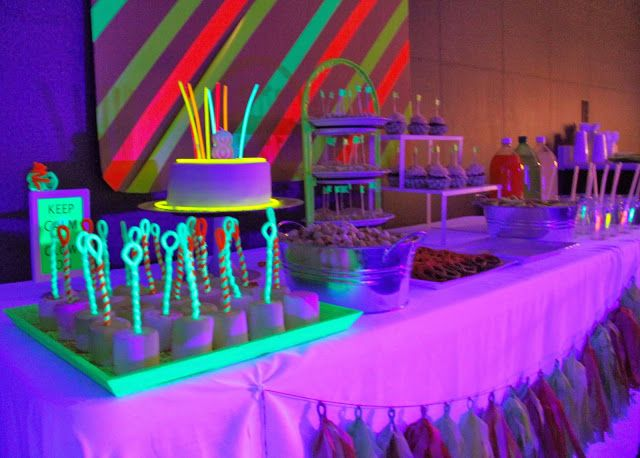 A Great Example Of A Neon Glow Party Food Table In