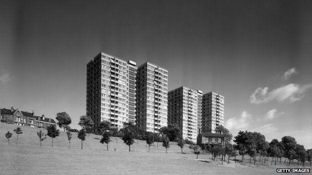 Tower blocks at Park Hill, Sheffield