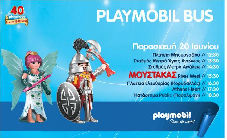 Για τέσσερις ημέρες, από τις 19 έως και τις 22 Ιουνίου, το PLAYMOBIL Bus θα κυκλοφορεί σε διάφορες περιοχές της Αθήνας, για να παίξει με τον κόσμο και να χαρίσει ώρες χαράς και ενθουσιασμού σε όλους.