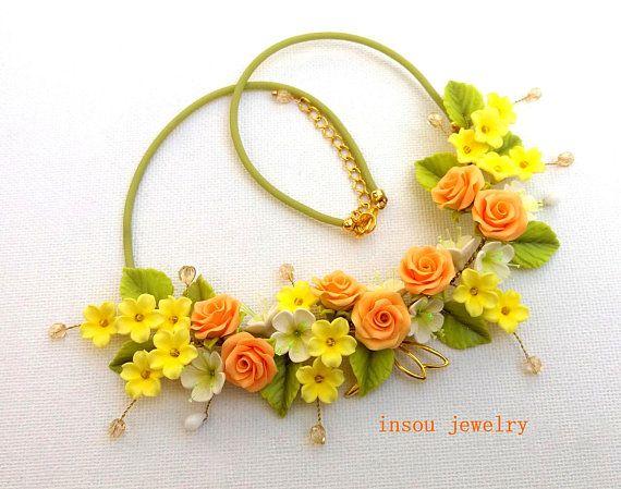 Flower Necklace Statement Necklace Rose Necklace  Floral