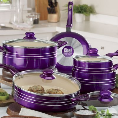 Chef Tested<sup class='mark'> ®</sup> 9-Piece Metallic Cookware Set…