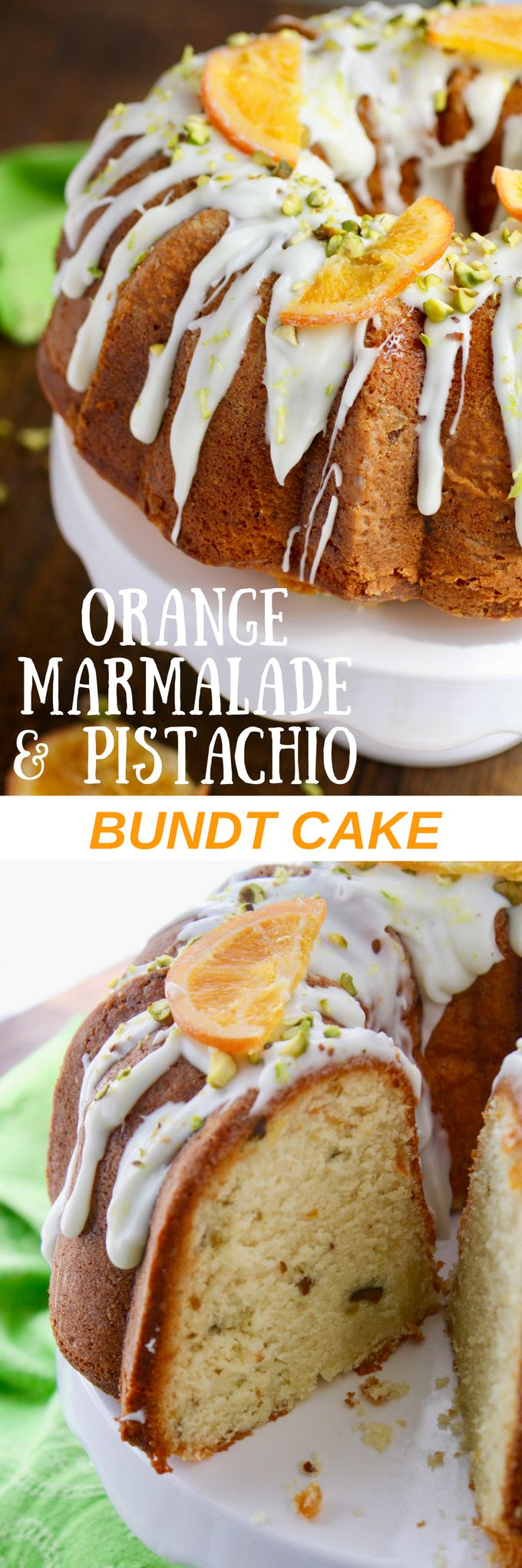 Orange Marmalade-Pistachio Bundt Cake is a true treat! Make this for dessert today!