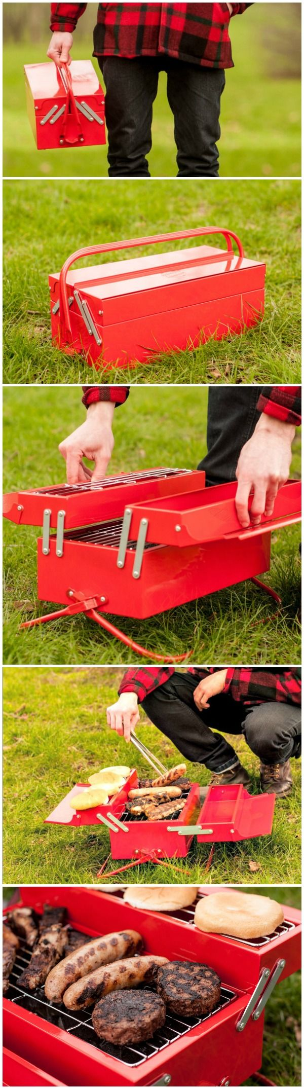 The BBQ Toolbox looks like a classic metal toolbox but unfolds to reveal a large grill area, a warming rack and storage tray for those essential condiments.