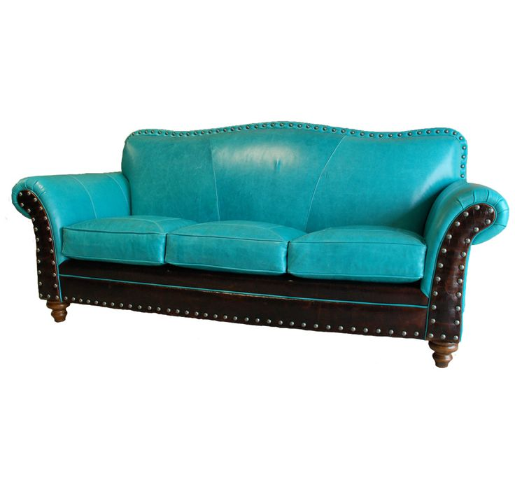 Turquoise & Dark chocolate/Expresso colored leather couch:  I can't decide if I like this ( I love it & then I don't. Do I dare do this to my couch?) I think there is an issue because there needs to be something, perhaps pillows to be the joining factor between the two. This is screaming for accessory pillows that have both colors with a defining pattern and style. Image from http://ep.yimg.com/ay/yhst-74880200159874/albuquerque-furniture-collection-2.gif.