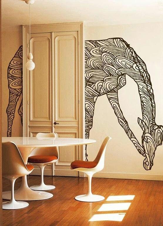 giraffe painted on wall    #interior #wall